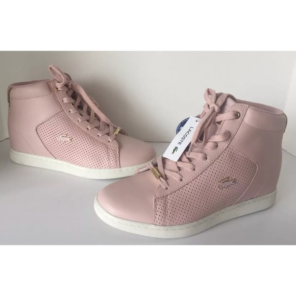 6951f97f57ae11 Lacoste Shoes | Womens Wedge Pink Sneaker New | Poshmark